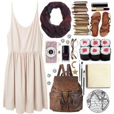 cute summer outfit.flowy dress, vintage backpack, sandals, scarf<3