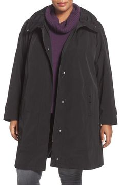 Gallery Water Repellent Silk Look Rain Coat (Plus Size) available at #Nordstrom