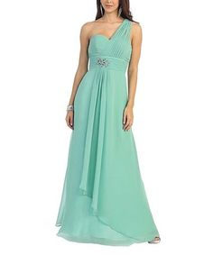1caf491d3818c MayQueen Sage Chiffon One-Shoulder Gown   Shawl