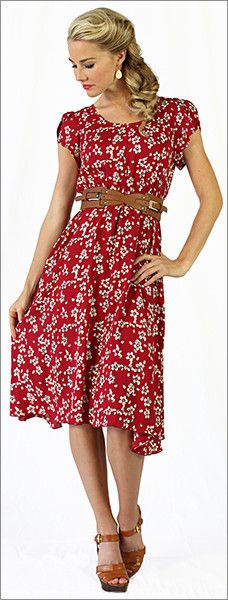 Ella Dress in Red Floral Print/ Modest Dresses/ Modest Spring Dresses/ Lots of modern and modest dre Modest Dresses, Modest Outfits, Modest Fashion, Casual Dresses, Fashion Dresses, Classic Dresses, Floral Dresses, Pretty Outfits, Pretty Dresses