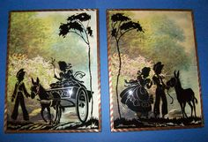"""SILHOUETTE PICTURE CHILDREN TAKING A DONKEY RIDE REVERSE PAINT 6X8"""" CONVEX GLASS"""