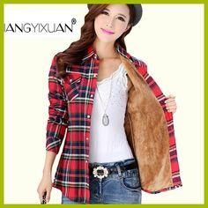 Thick velvet Blusas winter cotton long-sleeved women's plaid shirt flannel blouses feminina chemise femme camisas femenina tops