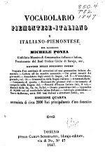 Vocabolario piemontese-italiano e italiano-piemontese, del sacerdote Michele Ponza ... - Libri su Google Play