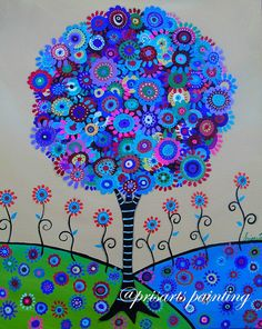 Tree of Life Original Whimsical Modern Pristine by prisarts bar,bat, mitzvah,b'nai,bnai, judaica, great gift, cool art, popular, best-seller, blooms, Florals, flowers, home, interior design, house warming, birthday, christmas, perfect, anniversary, present, friend, nurse, co-worker
