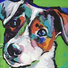 Hund bunt gemalt