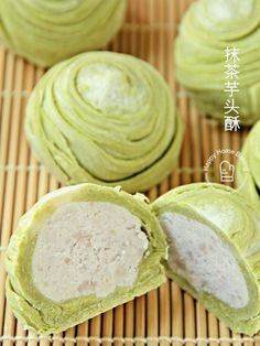 Happy Home Baking: 抹茶芋头酥 matcha green tea flaky pastry mooncakes. Variation on Teochew thousand layer spiral mooncake