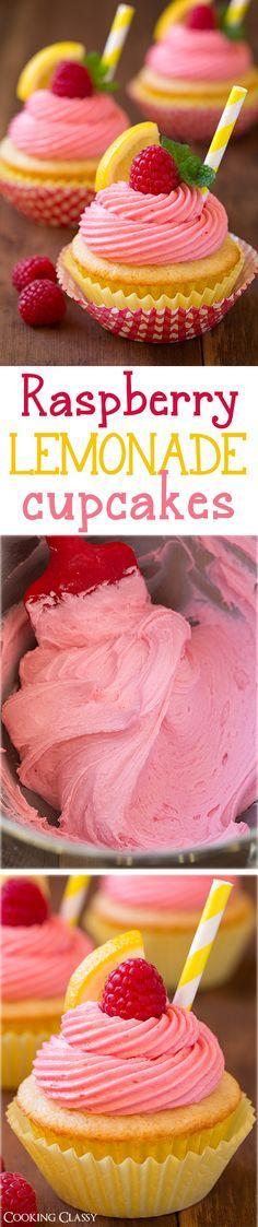 Raspberry Lemonade Cupcakes - fresh lemon cupcakes and fresh raspberry buttercream frosting. Summery deliciousness! Love these!