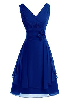 fa051f53e KAMA BRIDAL V-neck Knee-length A-line Chiffon Floral Bridesmaid Party Dress      Discover this special product