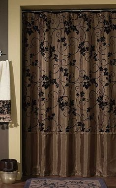 Glamorous, rich brown shower curtain