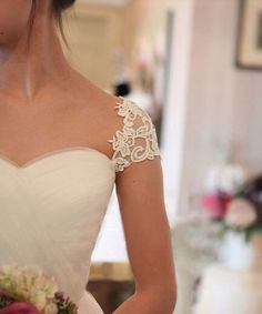 white lace capped sleeves