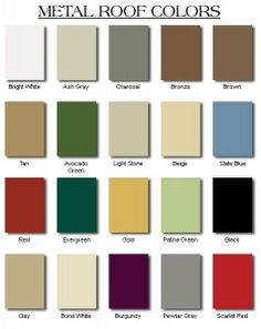 A Chart Of Standard Metal Roofing Colors