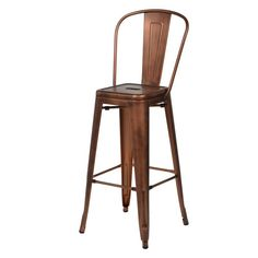 Commercial Seating Products Oscar Tolix Style Metal Patio Barstool with Back - MO-301-BARSTOOL-BRUSHED-ROSE-GOLD