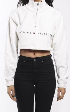 Vintage Tommy Hilfiger Crop Zip Sweatshirt
