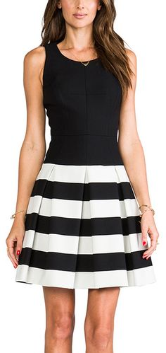 Striped drop waist pleated skirt dress