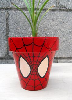Spiderman Marvel Superhero Comic Book painted flower by GingerPots, $16.00