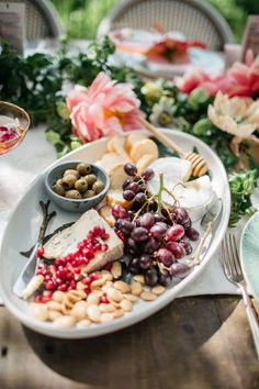 cheese plate, garden party table