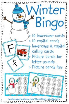 Winter Letters and Sounds Bingo can help your students:* identify lowercase letters* identify capital letters* identify letter sounds* identify beginning sounds* match capital to lowercase letters* match pictures to beginning letters . Kindergarten Centers, Literacy Centers, Learning Letters, Learning Activities, Abc Bingo, Teacher Helper, Letter Matching, Beginning Sounds, Calling Cards