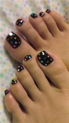 Black Toenail Polish with Colored Dots
