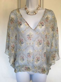 3ca59ac9 Paul & Jo Women's Top Blouse V Neckline Butterly Sleeves Floral Size S