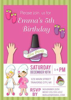 Spa Birthday Invitation for Girls - Kids Birthday Party Invites