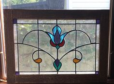 Vintage style Victorian stained glass window panel wood framed $66 etsy
