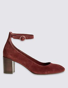 Suede Block Heel Ankle Strap Court Shoes <> M&S