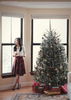 Plaid circle skirt and pine pumps (Extra Petite) Cute Christmas Outfits, Plaid Christmas, Winter Christmas, Christmas Skirt, Christmas Dresses, Christmas Fashion Outfits, Christmas Plays, Casual Holiday Outfits, Holiday Dresses