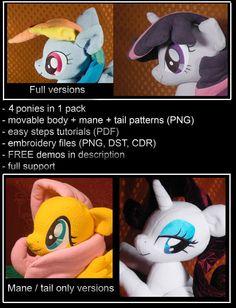 Pony-Muster - 4 Ponys im Preis von 1 - beweglichen Kopf/Flügel - Anleitungen - Schnitte - DST-Dateien - unterstützt MLP