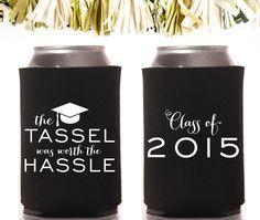 Personalized and Custom Party Koozie: Graduation The Tassel Was Worth the Hassle Koozies by CoffeltDesigns on Etsy #graduation #koozies #grad #classof2015 #classof2016 #favors #party #gradcap #tassel
