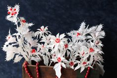 Vintage White Plastic Christmas Florals  by PhoebesTreasureChest