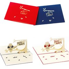 3D Pop Up Cute Birthday Cards Owl Greeting Card Invitation Handmade Party Kirigami Cards good quality