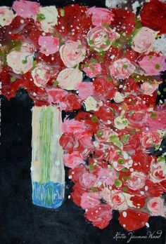 Giclee Print Abstract Still Life Floral Painting Wall Art Print Pink Roses Red Flowers Office Decor No 191 - pinned by pin4etsy.com
