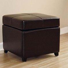 """Baxton Studio Brown Bi-cast Leather Storage Ottoman 16.5"""" H x 18"""" W x 18"""" D New #BaxtonStudio"""