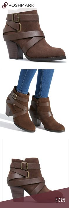 9d7c85302d1f Brown Faux Suede Strappy Booties NIB 🆕 Chic block heel bootie with strappy  faux-
