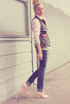Gingham and military.