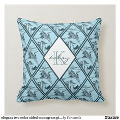 elegant two color sided monogram pillow