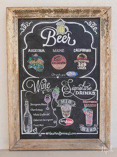 Orcutt Ranch Wedding Photos   DYI Drink Menu On A Framed Chalkboard. The  Groom Did