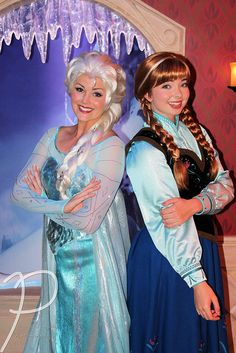 This was our Elsa & Anna at Disneyland. Couldn't believe how much they looked like the movie characters!