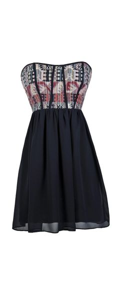 Lily Boutique A Stitch In Time Southwestern Pattern Dress in Navy, $36 Cute Navy Dress, Navy Embroidered Dress, Navy Stitched Dress, Navy Strapless Dress, Navy Summer Dress, Navy Party Dress, Navy A-Line Dress, Navy Southwestern Pattern Dress, Navy Embroidered Southwestern Dress www.lilyboutique.com