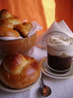23 Sicilian Dishes To Die For. Sicilian Coffee Granita with Whipped Cream and Brioche Italian Pastries, Italian Desserts, Italian Dishes, Granita, Sicilian Recipes, Greek Recipes, Sicilian Food, Italian Cooking, Croissants