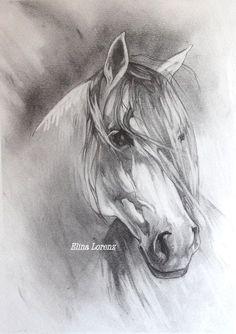 Grey Horse- Original Drawing-Room Decor- Horse Art- Decorative art- Art Gift-White and Grey-Room Decor- Christmas Gift Horse Drawings, Animal Drawings, Art Drawings, Painted Horses, Horse Sketch, Horse Artwork, Wow Art, Amazing Drawings, Equine Art
