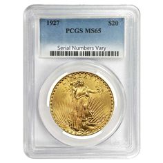 1927 $20 Gold St. Gaudens Double Eagle Coin PCGS MS 65