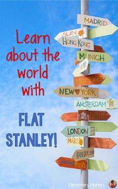 Learn About the World with Flat Stanley! This post contains ideas, books, information, links, and a freebie about getting Flat Stanley to help your students learn about Geography!