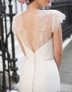 Lace dress with open back detail, buttons, wedding gown with sleeves, flutter sleeves, gatsby style