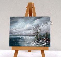 Evening Ocean Storm 3x4, inches,  original oilpainting, stand included