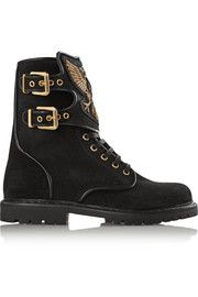 BalmainEagle Ranger embroidered suede boots