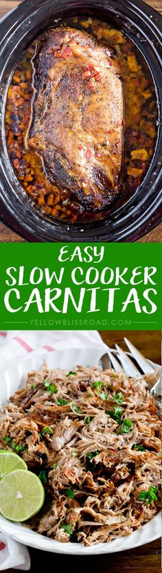Slow Cooker Carnitas Easy Slow Cooker Carnitas - Tender pork cooks to melt in your mouth perfection in your crockpot!Easy Slow Cooker Carnitas - Tender pork cooks to melt in your mouth perfection in your crockpot! Crock Pot Recipes, Slow Cooker Recipes, Cooking Recipes, Pork Burrito Recipe Slow Cooker, Cooking Cake, Cooking Videos, Slow Cooker Carnitas, Crock Pot Slow Cooker, Crock Pot Cooking