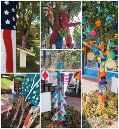 Fairhope, Alabama has been yarn bombed! Various artists pictured. Blog: Leslie Anne Tarabella #yarnbombing #knit #crochet #fiberart