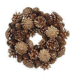 Coronita de Craciun Pinecone 26 cm - Maro/Auriu Burlap Wreath, Best Sellers, Wreaths, Decor, Corona, Decoration, Door Wreaths, Burlap Garland, Deco Mesh Wreaths