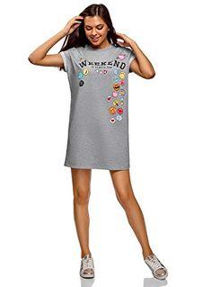 a337ed21c127 oodji Ultra Femme Robe-T-Shirt avec Imprimé et Revers sur Les Manches Gris  FR 36   XS